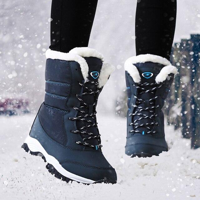 Botas de invierno a prueba de agua para Mujer Botas de nieve con plataforma para mantener el tobillo caliente Botas de invierno con tacones de piel gruesa Botas Mujer 2019