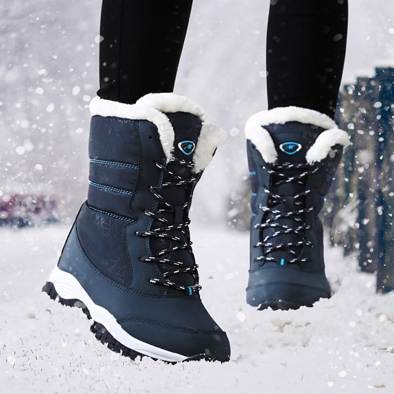 Botas de invierno impermeables para Mujer Botas de nieve con plataforma mantener calientes botines de invierno con tacones de piel gruesa Botas Mujer 2018