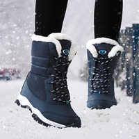 Mulheres Botas De Inverno Impermeável Sapatos de Plataforma Das Mulheres Botas de Neve Manter Quente Tornozelo Botas de Inverno Com Pele Grossa Saltos Botas Mujer 2019