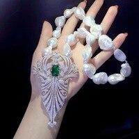 Барокко большой натуральный пресноводный жемчуг кулон ожерелье стерлингового серебра 925 пробы с фианит Женская мода ювелирные изделия Бес