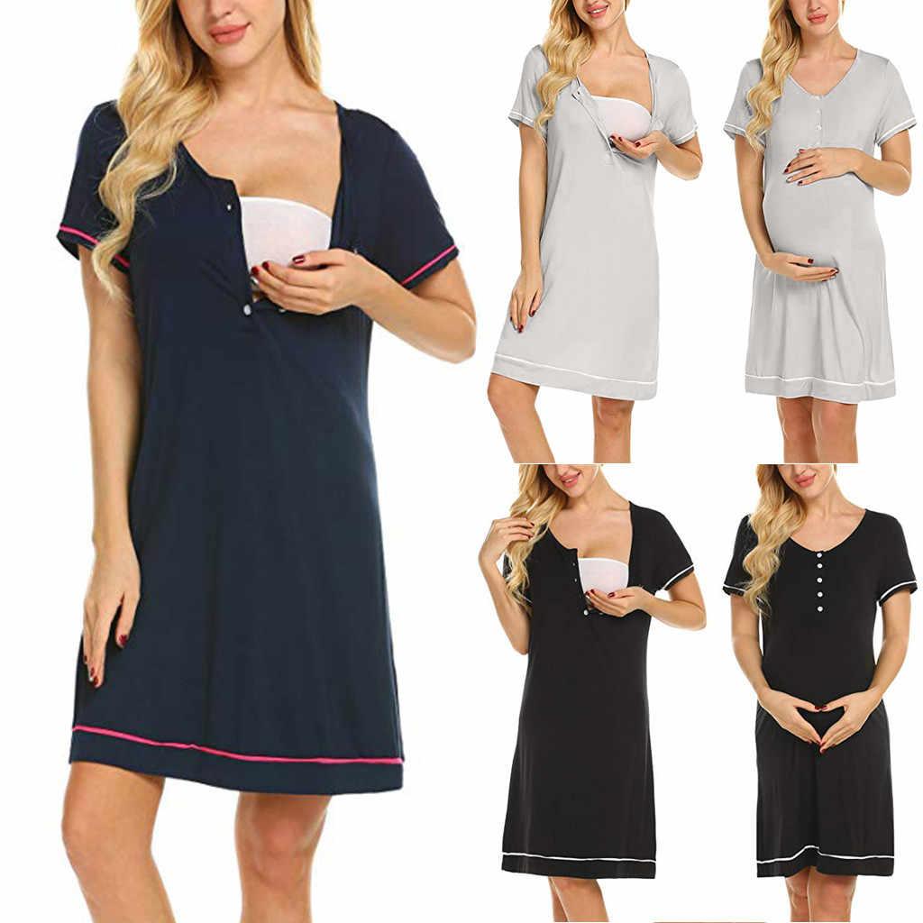 יולדות סיעוד משלוח כותנות לילה אימונית הנקה שמלת שמלה
