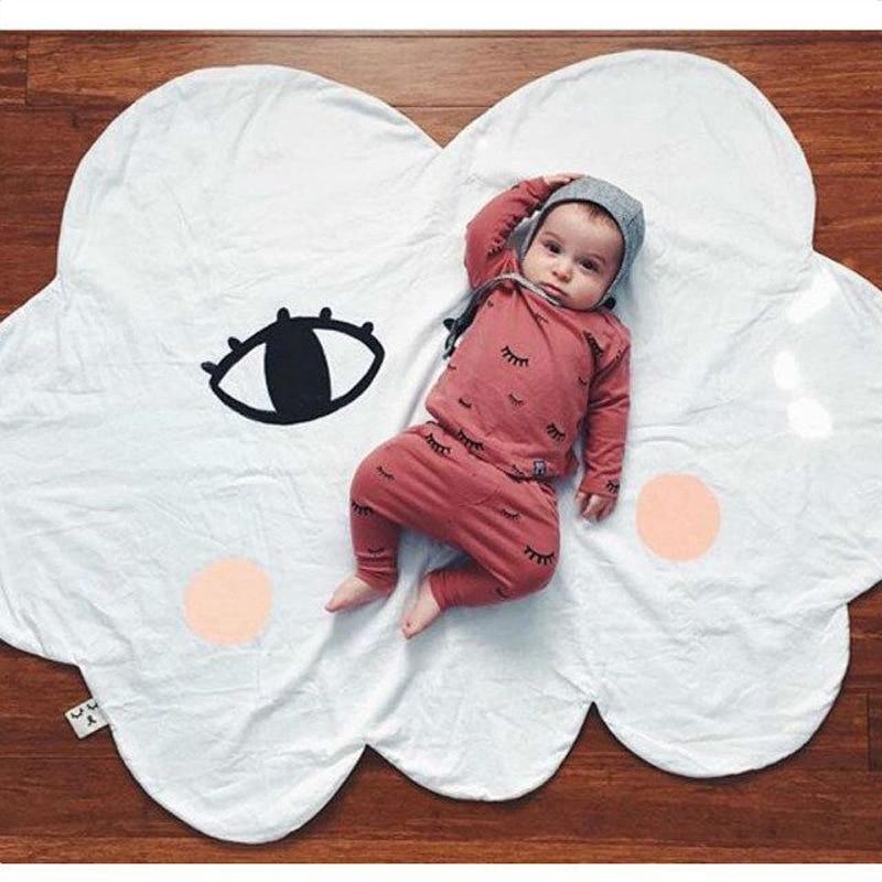 Cartoon Lächeln Wolke Babydecke Baumwolle Swaddle Me Crawling Pad - Haustextilien - Foto 6