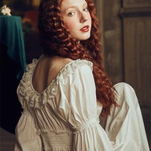 Image 4 - Bayan gecelik Retro zarif gecelikler Vintage kadınlar dantel beyaz pijama elbise pamuk uzun kollu gecelik Gentlewoman
