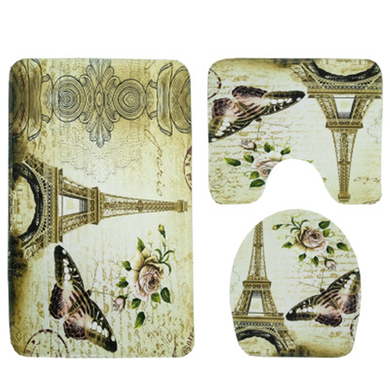 Butterfly Tower Toilet Seat Carpet 2 pcs/set And 3 pcs/set Slippery Water Absorbing Soft Bathroom Mat Bathroom Rugs And Mat Set