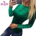 Causal Velvet T-Shirt Das Mulheres T Longo Da Luva Camisas Botão Mulheres Sólidos Tee Top Plus Size LJ7908R