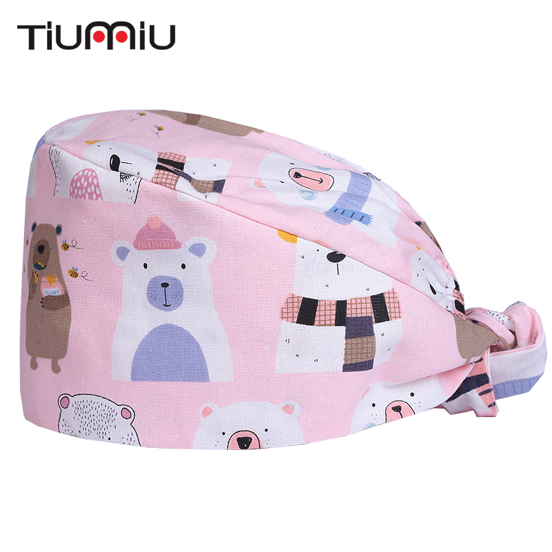 Medical Cute Bears Print Men Women Medical Cap Clinic Surgical Cap Hospital Doctor Dentist Laboratory Pharmacy Beauty Salon Workwear Hat A Great Variety Of Models