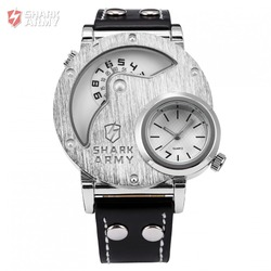 SHARK ARMY Stainless Steel Big Dual Leather Watch Strap Sport Quartz Relogio Masculino Military Wristwatch Mens Watch / SAW054