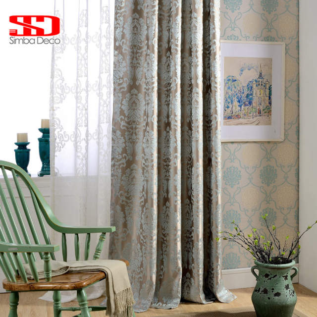 US $6.62 37% OFF|European Damask Curtains For Living Room Luxury Jacquard  Blind Drapes Window Panel Fabric Curtain For Bedroom Shading 70% Custom-in  ...