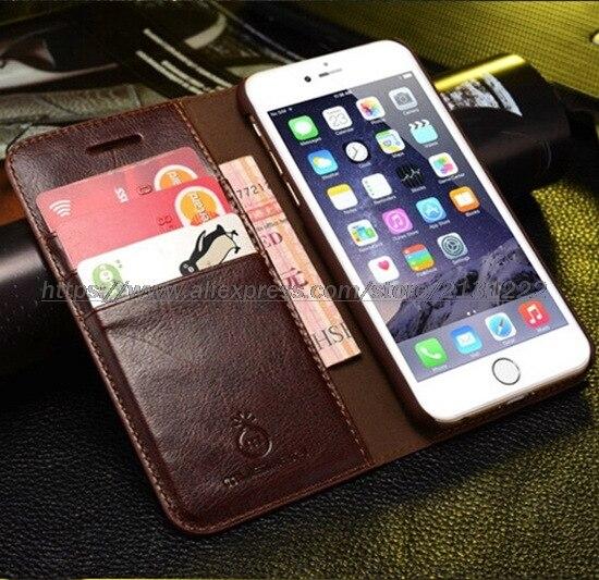 imágenes para Para el iphone 6 iphone 6 S funda de cuero de alta calidad de la manera ultra-delgado patrón Crazy Horse voltear ranuras para tarjetas cubierta de cuero del teléfono
