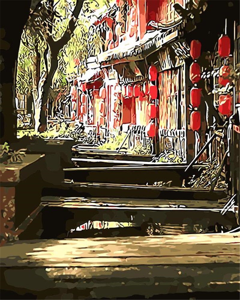 China Lijiang street landscape Painting By Numbers Paint On Canvas Acrylic Coloring Painitng By Numbers For Home Wall Decoration