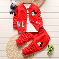 2016 Fall New Set of Boys and Girls Fashion Mickey Three-piece Baby Korean Version of Cotton Long-sleeved Suits Free Shipping
