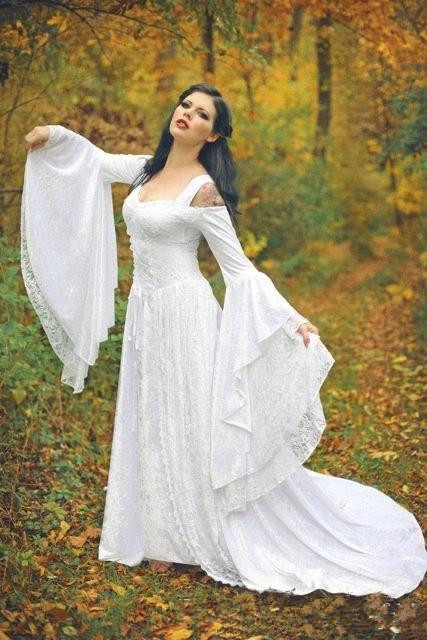 Fantasy Fairy Medieval Wedding Gowns Lace Up Custom Made Off The