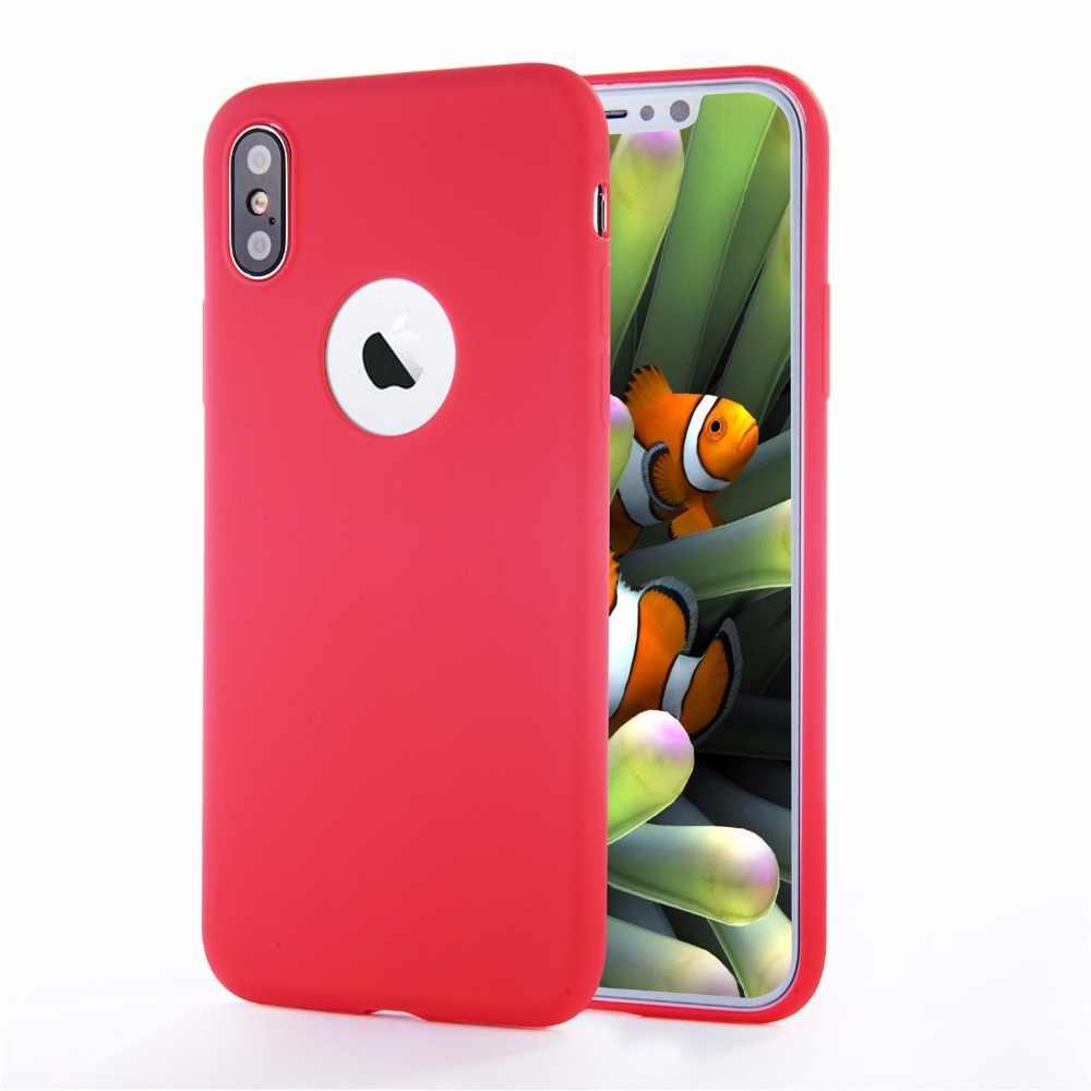 מקורי לוגו רך סיליקון מקרה עבור iphone 7 8 6 S 6s X 10 XR XS מקס בתוספת 5 5S 6 בתוספת 6SPlus 7 בתוספת 8 בתוספת Macarons צבע כיסוי