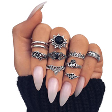 Vienkim 10 Pcs/Set Bohemia Rings Set Silver Color Elephant Rose Flower Heart Crown Carved Knuckle Rings for Women Jewelry Gift