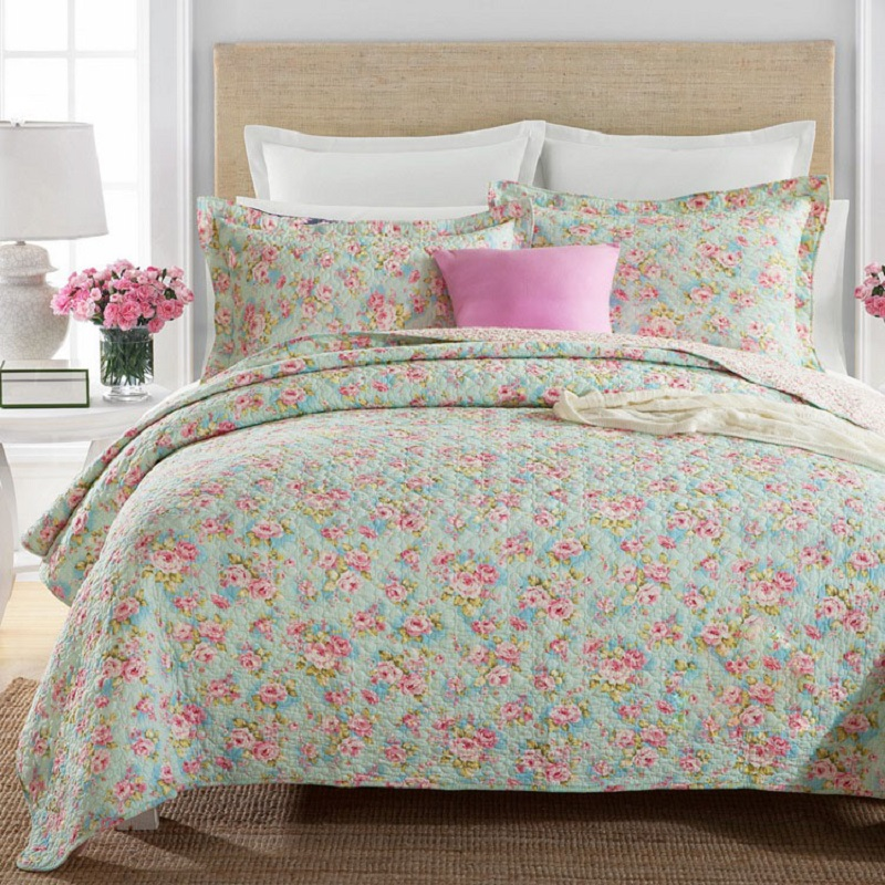 جودة chausub الأزهار غطاء لحاف لحاف مجموعة 3 قطع القطن مبطن المفرش السرير ملاءات سادة بطانية السرير الملك الحجم-في لحاف من المنزل والحديقة على  مجموعة 1