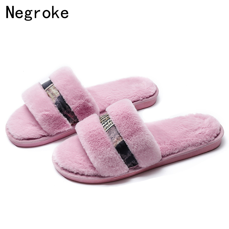 2018 Chic Autumn Women Plush Faux Fur Slippers Female Winter Warm Fluffy  Furry Flip Flops High Quality Fur Slides House Shoes 92e4bbffe