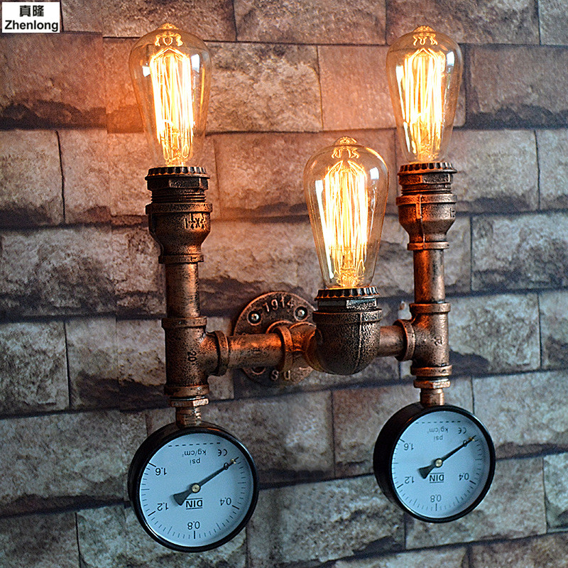 Steam Punk Loft Industrial Iron Rust Water Pipe Retro Wall Lamp Vintage E27 Sconce Lights House Lighting Fixtures Bar Decorative loft steam punk big sword style decorative iron rust water pipe wall lamp vintage e27 led sconce lights for living room bedside