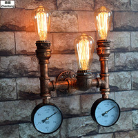 Steam Punk Loft Industrial Iron Rust Water Pipe Retro Wall Lamp Vintage E27 Sconce Lights House Lighting Fixtures Bar Decorative