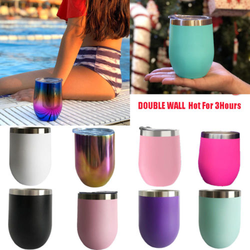 b0ce3e2e5cd US $1.79 25% OFF Office Cup Egg Cocktail Wine Glass W Lid   12oz Stainless  Steel Mini Portable Vacuum Flask Tumbler Insulated Hot Cold Drinks Cup-in  ...