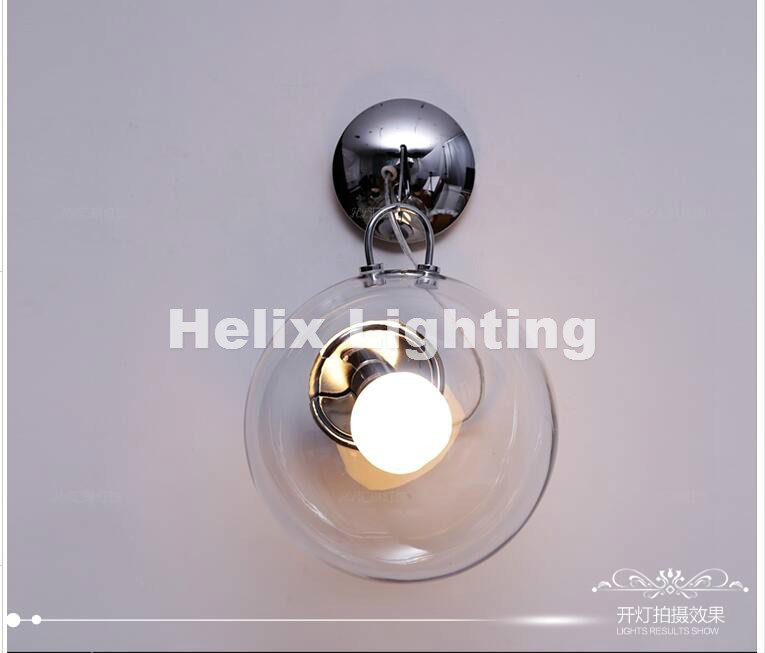 Nordic Modern Clear Glass Ball Nordic Retro Vintage Glass Ball Wall lamp Loft Industrial E27 Wall sconce decor Lighting