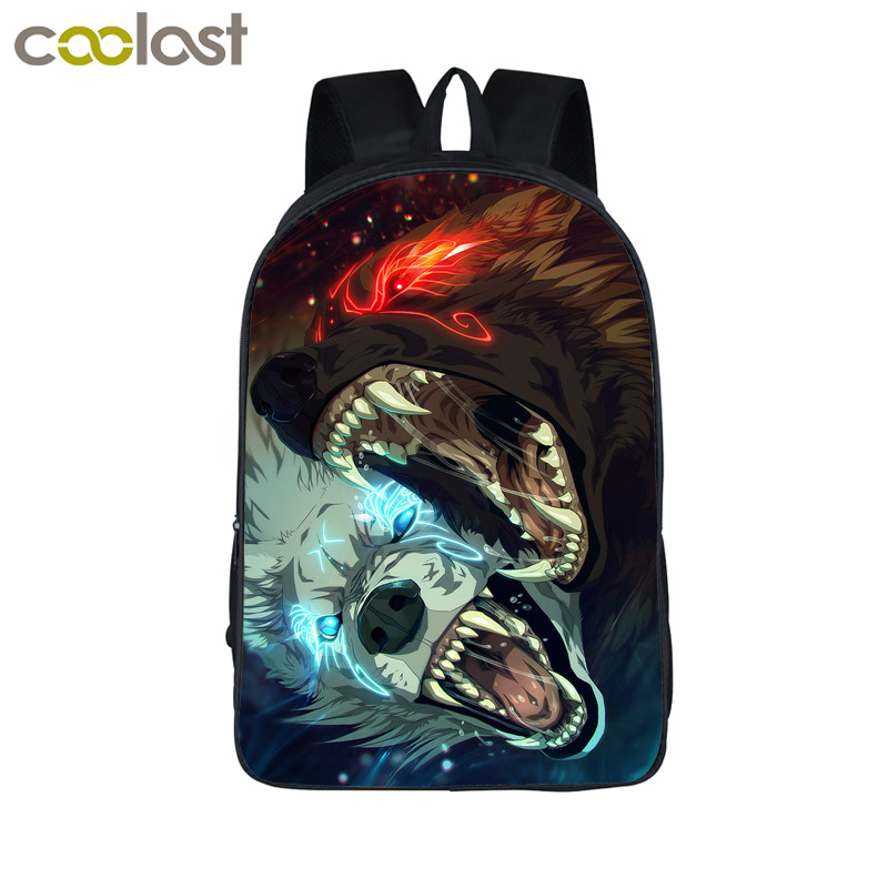 Cool Ice And Fire Wolf School Backpack for Teenagers Girls Boys Bookbag Skull Men Travel Bags bolso mochila mujer Dragon Bagpack martin g r r dance with dragon book 5 of song of ice and fire