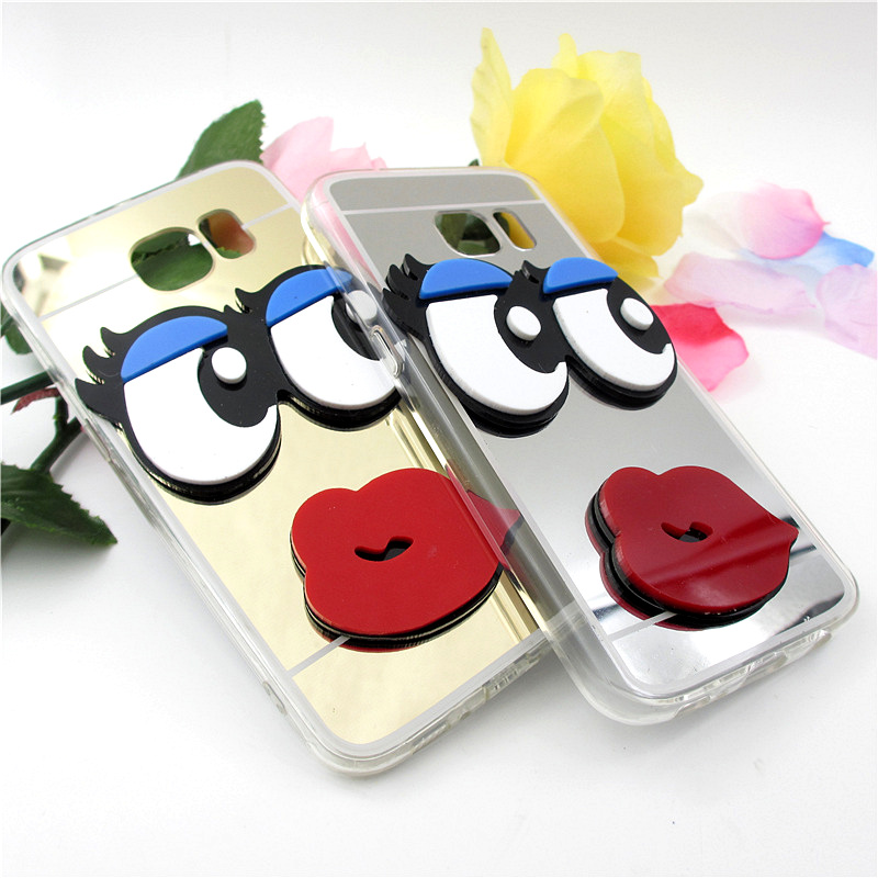 Coque Capa Luxury 3D Cute <font><b>sexy</b></font> eyes Lips Mirror Case For Samsung galaxy S6 S7 edge plus S4 S5 A5 A7 A3 A8 <font><b>2016</b></font> J5 <font><b>J7</b></font> case <font><b>Fundas</b></font> image