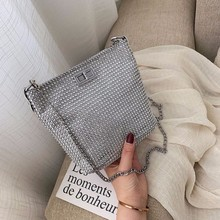 Bags For Women 2019 Luxury Brand Messenger Bags For Girls Sliver Chains Leather Shoulder Bag Diamonds Sac A Main Luxury Bag New