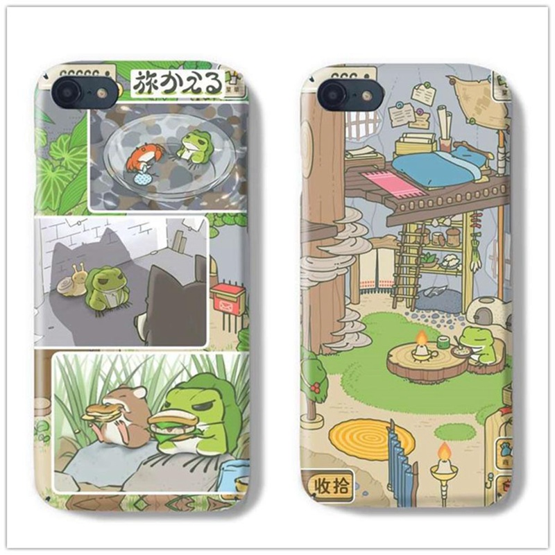 For iPhone 6 6s 7 8 plus X High quality Travel Frog Phone Cases Cute  Travelling Frog Women Men Case Cover 77939623d9