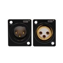 1PC XLR שקע EIZZ גבוהה סוף זהב מצופה נחושת PTFE XLR שקע תקע מחבר עבור מיקרופון אוזניות מגבר HiFi אודיו DIY