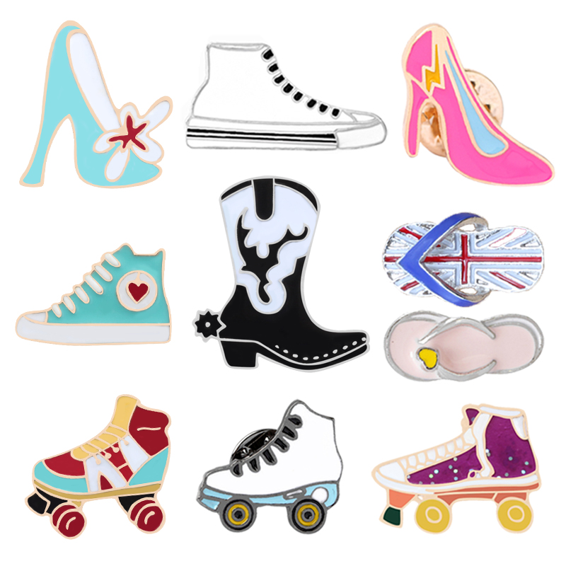 Badges Hard-Working Roller Skates Lapel Pin Badges For Clothes Skating Shoes Rozety Papierowe Icon Backpack 1pcs Xy0326