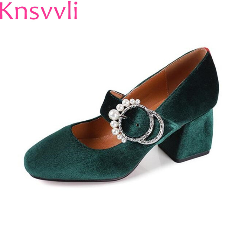 Crystal Round Buckle Thick Heel Ink Green Velvet Shoes Ladies Pumps Pearl Hasp Black Round Toe Women's Shoes With A Heel n a hasp