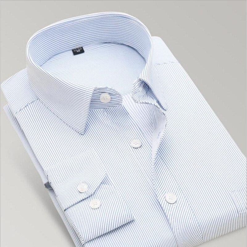 New 2018 mens work shirts Brand Long sleeve striped /twill men dress shirts white male shirts