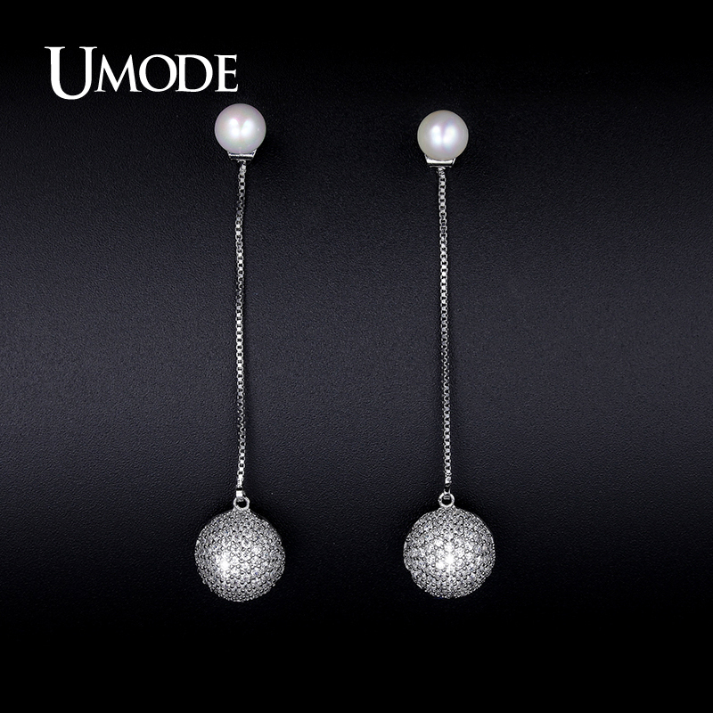 font b UMODE b font Crystal And Synthetic Pearl Drop font b Earrings b font