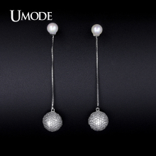 UMODE Crystal And Synthetic Pearl Drop Earrings For Women 2016 New Brincos Grandes Fashion Para Mulheres Christmas Gifts AUE0223