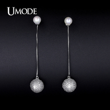 UMODE Crystal And Synthetic Pearl Drop Earrings For Women 2017 New Brincos Grandes Fashion Para Mulheres