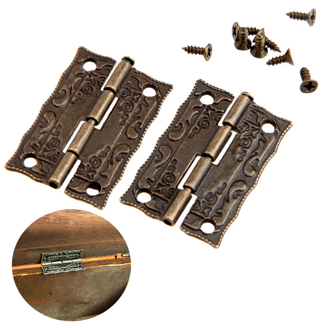 2Pcs 36x23mm Antique Bronze Cabinet Hinges Furniture Accessories Door Hinges  Drawer Jewellery Box Hinges For Furniture