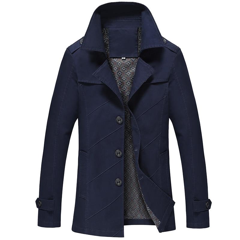 Men Casual Outwear Jacket Jaquetas Couro Hommes Big Size Soil Yellow Slim Long Solid Color Windbreaker Overcoat Mens Trench Coat