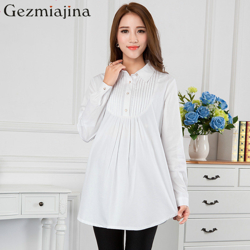 Spring autumn pregnancy wear blouses Long sleeve maternity dress Pregnant women shirt chiffon shirts