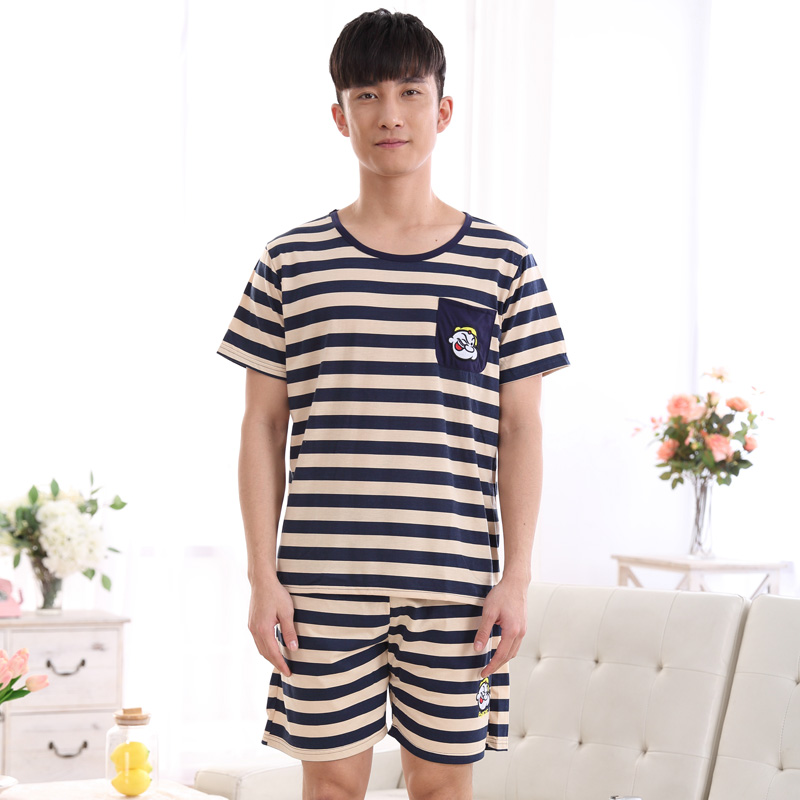 a522b8cc9cfbb2 US $10.99 |Summer Cotton Striped Pajama Sets Couples Sleepwear Women  Pajamas Pijama hombre Masculino Cartoon Pyjamas Men's Pajamas Homewear-in  Men's ...