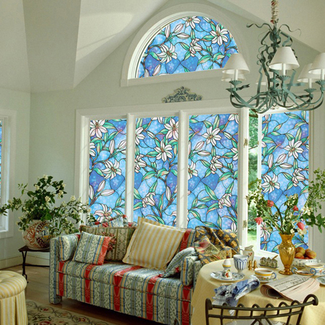 European Orchid Flower Window Film Stickers Diy Stained Gl Home Privacy Decor