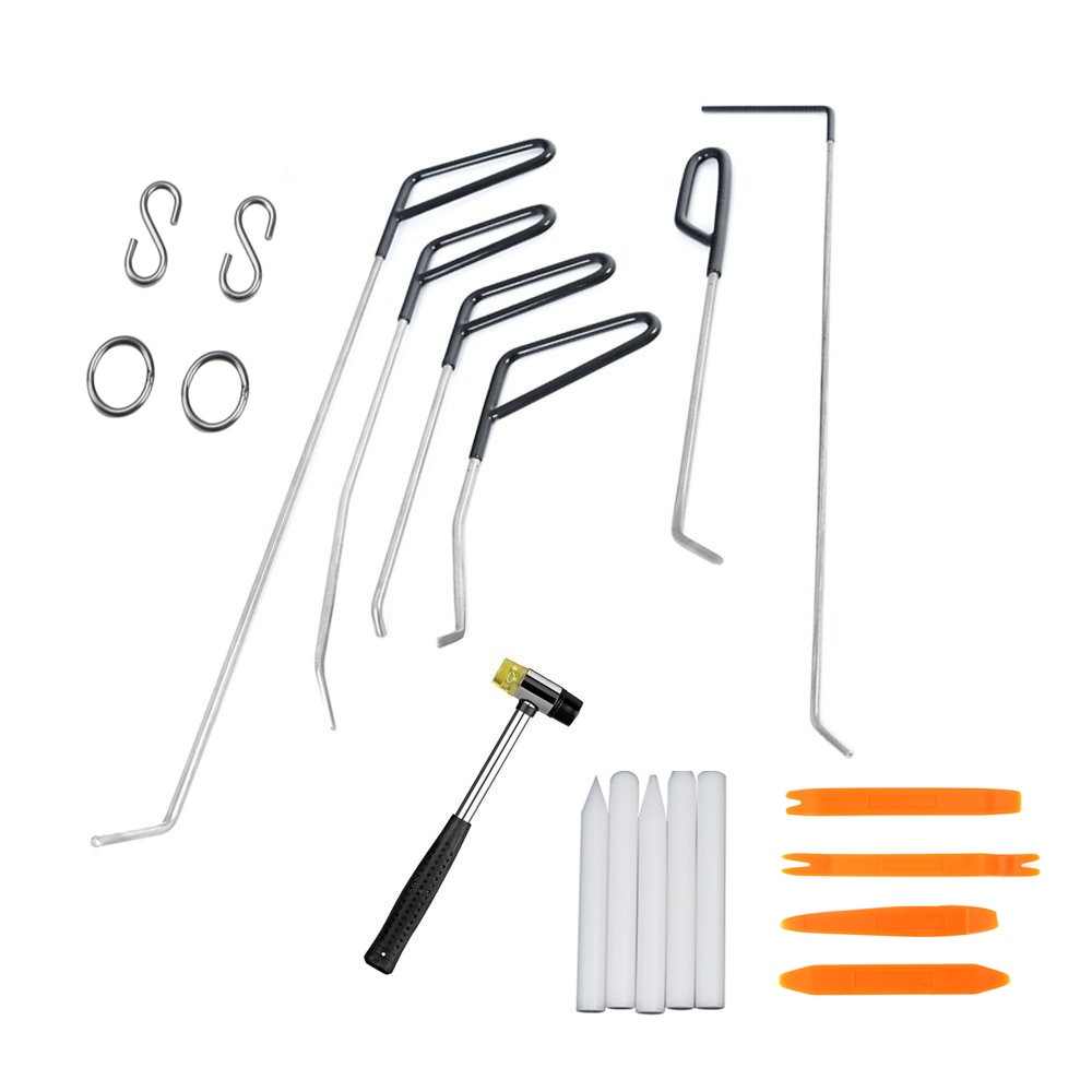 PDR Push Rods Hook Tools with Car radio removal rubber hammer Paintless Dent Repair Car Dent Remove Kit for Hail damage