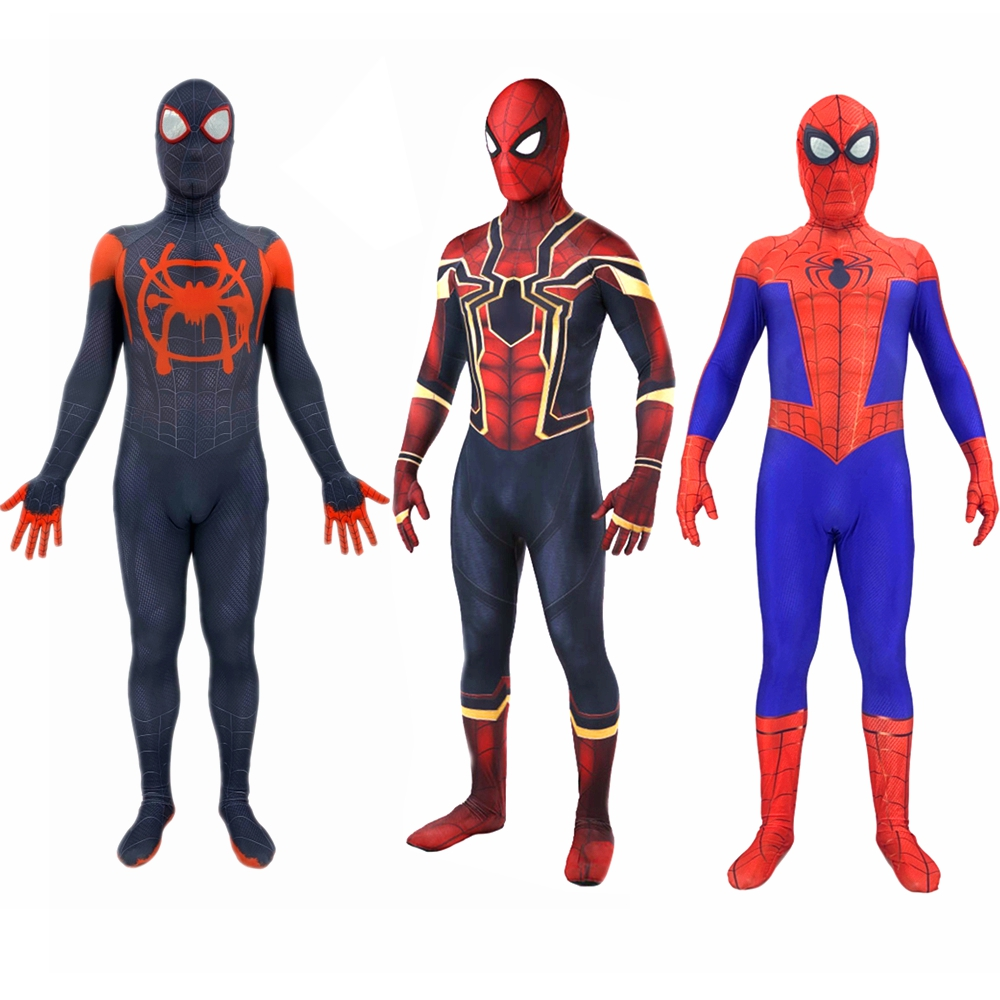 Spider-Man Into the Spider-Verse Peter Parker Miles Morales Cosplay Costume Kids Adult Superhero Iron Spiderman Zentai Bodysuit