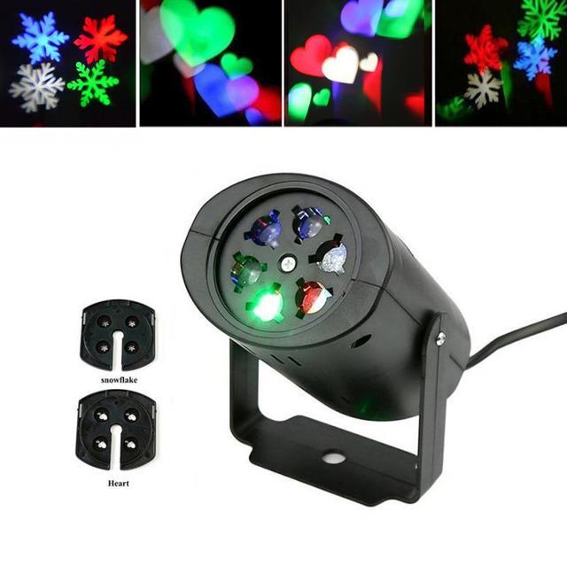 Laser projecteur lampes led stage de lumi re flocon de neige coeur f te de no l paysage de for Projecteur laser neige