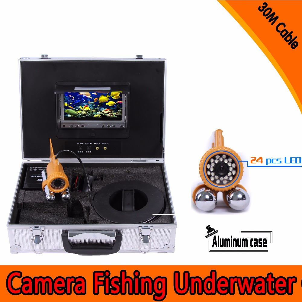 (1 set) 30M Cable Underwater Fishing Camera HD CMOS 7 Inch Color Screen Diving camera System 24 White IR LED Fish Finder