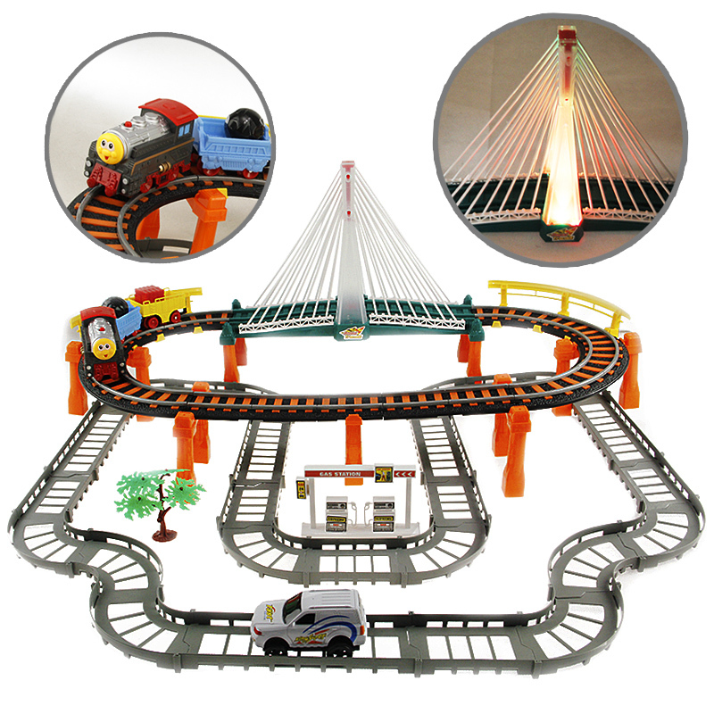 Hot Kids Toys puzzle assembling toy electric train car double layer rail for childrens gift juguetes brinquedos toys for boys