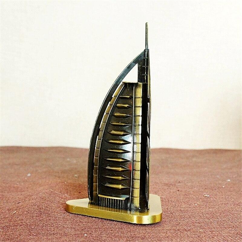 Знаменитое здание Архитектура Дубай Burj Al Arab Hotel металл модель миниатюрный домашний магазин Украшение стола дети Игрушечные лошадки подарки... ...