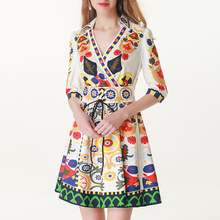 XF 2019 High Quality Summer Fashion Designer Women'S Dress New Print Floral High Waist Tie Ethnic Style V-Neck Holiday Dress contrast trim floral print tie waist dress