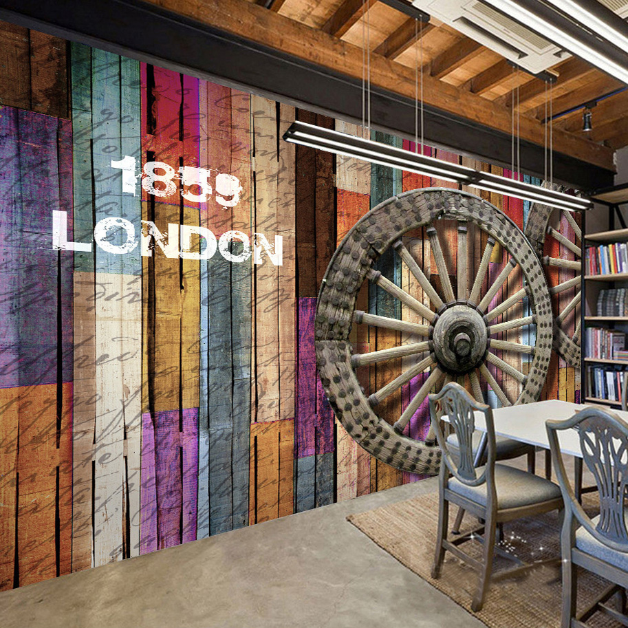 custom wallpaper colored wood grain wheel graffiti art wall painting for home decor bar cafe restaurant wall mural wallpaper 3d - Painted Wood Cafe Decoration