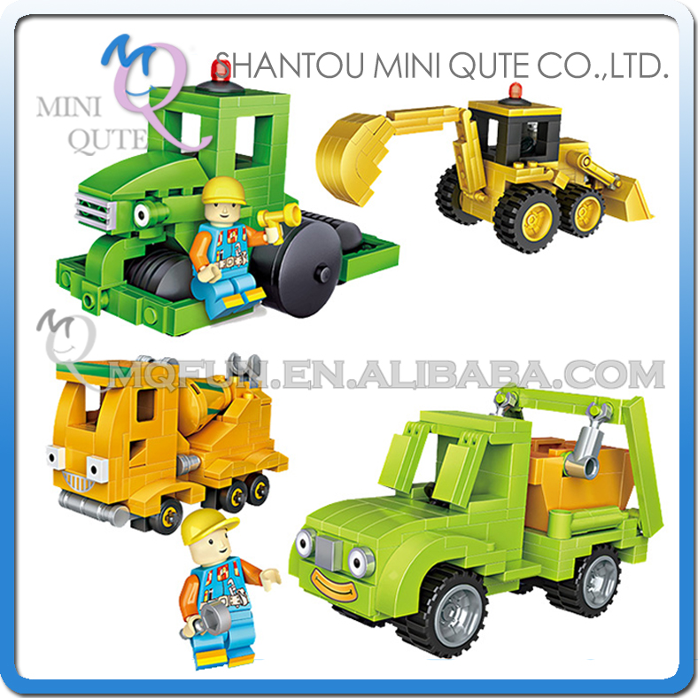 Full Set 4pcs/lot Mini Qute LOZ Engineering vehicle boys car truck gift block building blocks cartoon figures educational toy mini qute full set 2 pcs lot hc zootopia huge nick wilde judy hopps plastic building block cartoon model educational toy no 9011