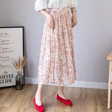 2019 Summer Floral Printing Chiffon Skirts Womens High Waist Pleated Long Skirt Korean Streetwear Women Clothes